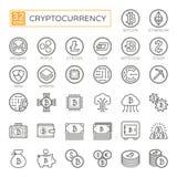 Cryptocurrency, bitcoin, blockchain - het minimale dunne pictogram van het lijnweb vastgestelde 32pc, de eenvoudige inzameling va vector illustratie