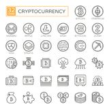 Cryptocurrency, bitcoin, blockchain - minimal thin line web icon set 32pc, simple outline vector icons collection vector illustration