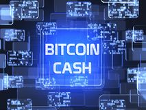 Cryptocurrency Bitcoin Cash. Future technology block chain cryptocurrency Bitcoin Cash blue touchscreen interface. Blockchain financial virtual money wallet Stock Photography