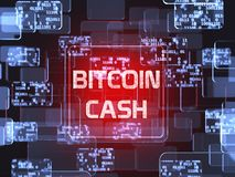Cryptocurrency Bitcoin Cash. Future technology block chain cryptocurrency Bitcoin Cash red touchscreen interface. Blockchain financial virtual money wallet Stock Photography