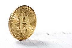Cryptocurrency Bitcoin. Close up of Bitcoin. BTC the virtual money. Cryptocurrency Stock Photography