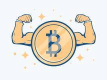 Cryptocurrency bitcoin concept. Golden coin with bitcoin sign and muscle hands. Vector flat illustration. Financial or technology concept of financial growth Royalty Free Stock Images