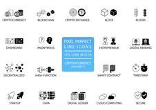 Cryptocurrency-bitcoin, ethereum dünne Linie Ikonensatz Perfekte Ikonen des Pixels mit 1 px Linienbreite für optimale APP und Net Stockfoto