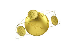 Cryptocurrency. Bitcoin exchange for euros and dollar. Arrows around planet earth and world currency. Path included. Cryptocurrency. Bitcoin exchange for euros Royalty Free Stock Images