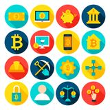 Cryptocurrency Bitcoin Flat Icons. Vector Illustration. Set of Circle Financial Items with Long Shadow Royalty Free Stock Photography
