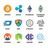 Cryptocurrency bitcoin, litecoin ethereum vector flat icons. Bitcoin and ethereum, litecoin and digital finance money illustration Stock Photography