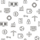 Cryptocurrency bitcoin mining seamless pattern icons with white background. Vector Royalty Free Stock Images