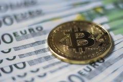 Cryptocurrency Bitcoin mynt Fotografering för Bildbyråer