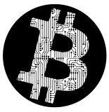 Cryptocurrency bitcoin sign, vector icon isolated over white bac Royalty Free Stock Photos