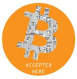 Cryptocurrency bitcoin sign, vector icon isolated over white  Stock Image