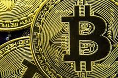 Cryptocurrency Bitcoin sulla scheda madre Moneta di oro Valuta virtuale Fotografie Stock Libere da Diritti