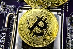 Cryptocurrency Bitcoin sulla scheda madre Moneta di oro Valuta virtuale Fotografia Stock