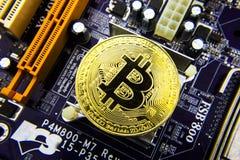 Cryptocurrency Bitcoin sulla scheda madre Moneta di oro Valuta virtuale Fotografie Stock