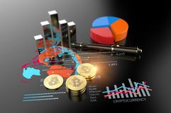 Virtual Bitcoin cryptocurrency financial market graph. Cryptocurrency Bitcoin and virtual financial currency market exchange Stock Photos