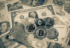 Cryptocurrency, Bitcoins On World Currency Money, Vintage. Stock Photography