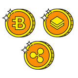 Cryptocurrency black outline gold icons bytecoin, ripple and stratis Royalty Free Stock Images