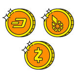 Cryptocurrency black outline gold icons dash, bitshares, zcash Stock Image
