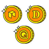 Cryptocurrency black outline gold icons dogecoin, gamecredits, neo Royalty Free Stock Photos