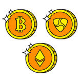 Cryptocurrency black outline gold icons ethereum, bitcoin, nem Stock Images