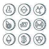 Cryptocurrency black outline icon set isolated. Vector Stock Photography