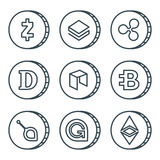 Cryptocurrency black outline icon set isolated. Vector Stock Photo
