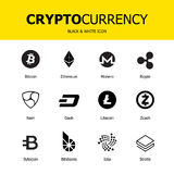 Cryptocurrency blockchain象 套真正货币 传染媒介贸易的标志:bitcoin, ethereum, monero,波纹, litecoin,破折号, 免版税库存图片