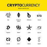 Cryptocurrency blockchain象 套真正货币 传染媒介贸易的标志:ethereum经典之作, bitshares, iota, siacoin, digibyt 免版税库存照片