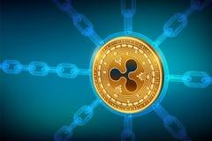 Cryptocurrency Blockchain κυμάτωση τρισδιάστατο isometric φυσικό νόμισμα κυματισμών με την αλυσίδα wireframe Έννοια αλυσίδων φραγ διανυσματική απεικόνιση
