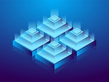Cryptocurrency and blockchain, abstract isometric 3D illustration. Cryptocurrency mining farm, vector technology background.  Stock Illustration