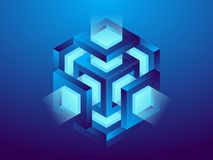 Cryptocurrency and blockchain, abstract isometric 3D illustration. Cryptocurrency mining farm, vector technology background.  Vector Illustration