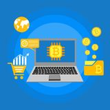 Blockhain scheme, mining crypto currency, server room, powered computers, data processing, money transaction in internet vector. Cryptocurrency and blockchain Royalty Free Stock Image