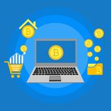 Blockhain scheme, mining crypto currency, server room, powered computers, data processing, money transaction in internet vector. Cryptocurrency and blockchain Royalty Free Stock Images