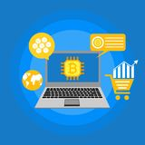 Blockhain scheme, mining crypto currency, server room, powered computers, data processing, money transaction in internet vector. Cryptocurrency and blockchain Stock Image