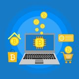 Blockhain scheme, mining crypto currency, server room, powered computers, data processing, money transaction in internet vector. Cryptocurrency and blockchain Stock Images