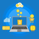 Blockhain scheme, mining crypto currency, server room, powered computers, data processing, money transaction in internet vector. Cryptocurrency and blockchain Stock Photography
