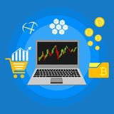 Blockhain scheme, mining crypto currency, server room, powered computers, data processing, money transaction in internet vector. Cryptocurrency and blockchain Stock Photo