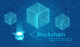 Cryptocurrency and blockchain concept, data powered center, cloud data storage isometric vector illustration. Web design. Presentation banner royalty free illustration