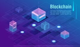Cryptocurrency and blockchain concept, data powered center, cloud data storage isometric vector illustration. Web design. Presentation banner Royalty Free Stock Photos