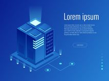 Cryptocurrency and Blockchain concept. Farm for mining bitcoins. Mainframe, powered server, high technology concept, data center, cloud data storage. Isometric Royalty Free Stock Photos