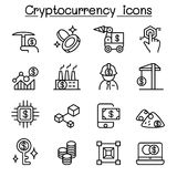 Cryptocurrency , Blockchain & ICO icon set in thin line style. Cryptocurrency , Blockchain Stock Images
