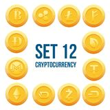Cryptocurrency Blockchain Icon Set Coin Vector. 12 set of cryptocurrency blockchain in flat style vector icons Royalty Free Stock Image
