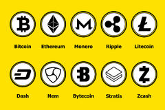 Cryptocurrency blockchain icons a yellow background. Set virtual currency.Vector trading signs: bitcoin, ethereum, monero, ripple, stock photo