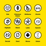 Cryptocurrency blockchain icons a yellow background. Set virtual currency.Vector trading signs: iota, ethereum classic, bitshares royalty free stock image
