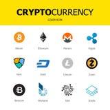 Cryptocurrency blockchain ikony odizolowywali białego tło Ustalona wirtualna waluta royalty ilustracja