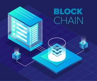 Cryptocurrency and blockchain isometric illustration vector illustration