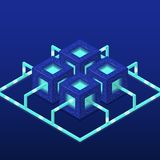 Cryptocurrency and blockchain isometric vector composition with blocks. EPS10 royalty free stock photos