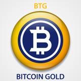 Cryptocurrency blockchain pictogram van het Bitcoin Gouden Muntstuk Virtueel elektronisch, Internet-geld of cryptocoin symbool, e vector illustratie