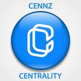 Cryptocurrency blockchain pictogram van het centrale liggingsmuntstuk Virtueel elektronisch, Internet-geld of cryptocoin symbool, royalty-vrije illustratie