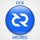 Cryptocurrency blockchain pictogram van het Decredmuntstuk Virtueel elektronisch, Internet-geld of cryptocoin symbool, embleem royalty-vrije illustratie