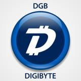 Cryptocurrency blockchain pictogram van het Digibytemuntstuk Virtueel elektronisch, Internet-geld of cryptocoin symbool, embleem vector illustratie
